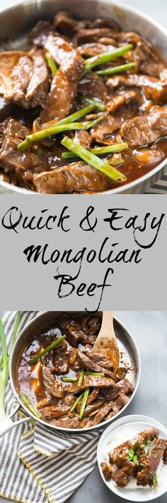Mongolian Beef is a classic Asian style beef recipe! Make this quick and easy version any time you are craving this classic dish! Pork Recipes, Asian Recipes, Cooking Recipes, Game Recipes, Asian Foods, Chinese Recipes, Chinese Food, Beef Dishes, Appetizers