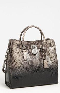 Price :  $389.99  | Michael Kors Hamilton Ombre Python Dark Sand Brown Gray Snakeskin Embossed Leather Large Satchel Tote Bag