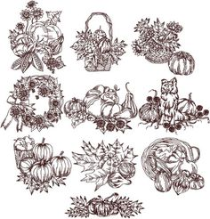 Advanced Embroidery Designs - Autumn Redwork Set