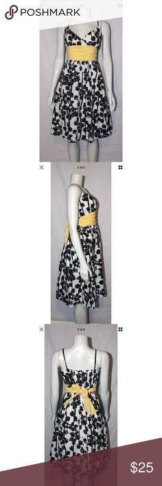 Max Studio Black White Yellow Floral Dress Sz S ***All Best Reasonable Offers Accepted!*** 