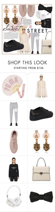 """""""Sweet Street"""" by luisaviaroma ❤ liked on Polyvore featuring Puma, Thom Browne, Common Projects, Gucci, Balmain, Vanity Fair, Valentino, Frends, StreetStyle and luisaviaroma"""