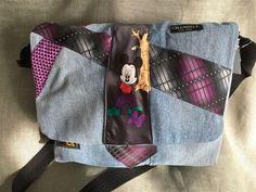 Annons på Tradera: Fräsig laptop väska av jeans och slipsar.