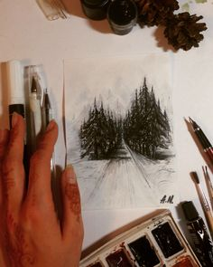 """Finished! акварель, чернило+перо """"Cold winter forest"""" (рисунок для печати на вещах) - watercolors, fountain pen (sketch for printing on stuffs)❄️Заказывайте, с большим удовольствием реализую все ваши творческие пожелания и идеи, также из категории """"невозможных"""" и """"нестандарт""""  (РИСУЮ НА ЗАКАЗ, эскизы, иллюстрации, художественные картины, открытки, приглашения, визитки, постеры, роспись стен, роспись тела и многое другое) ЖДУ ВАШИХ ПРЕДЛОЖЕНИЙ!!! Waiting for your art ideas and wishes."""