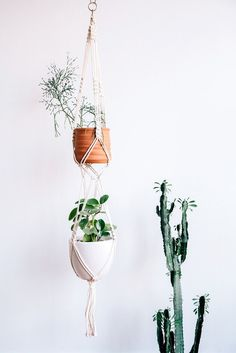 This macrame plant hanger has spots for two plants to hang together. These look wonderful as a group, so order a few! Since they are handmade, each plant hanger is unique, and may look slightly differ