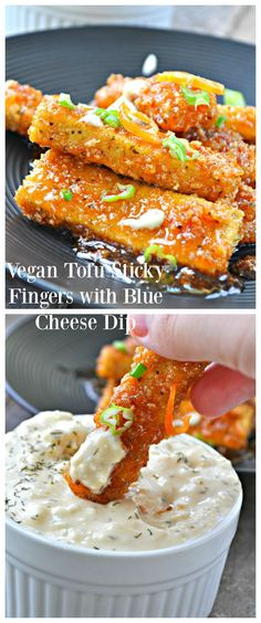 Vegan Tofu Sticky Fingers with Blue Cheese Dip