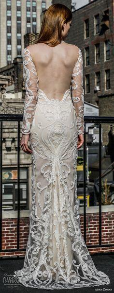 adam zohar 2017 bridal long sleeves illusion halter neck full embellishment elegant sheath wedding dress open back sweep train (19) bv -- Adam Zohar 2017 Wedding Dresses