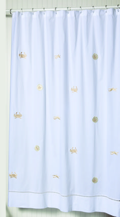 #sealife #beachdecor 100% cotton embroidered shower curtain with gold #crabs #shells #jacarandaliving