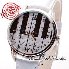 Piano Wrist Watch  Wristwatch for Women Ladies by HandMadePeople, $50.00