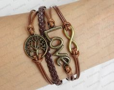 Infinity and Love Bracelet  Antique Bronze Charm by lifesunshine, $6.99