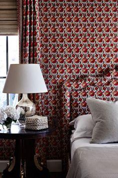 fabric headboard and wallpaper match ~ via Vogue