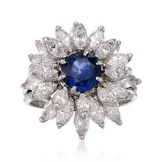 Ross-Simons - C. 1975 Vintage 1.24 Carat Sapphire and 3.00 ct. t.w. Diamond Floral Ring in Platinum. Size 4.75 - #778464