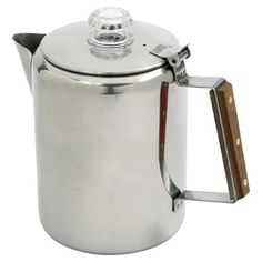 Brew a perfect morning cup or after-dinner refresher with this stainless steel percolator, an essential addition to your kitchen.   ...