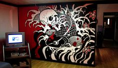 Freehand Skull & Koi Fish Mural - So about a month ago I started an apprentice position at a tattoo shop, so here's my contribution to attract business!