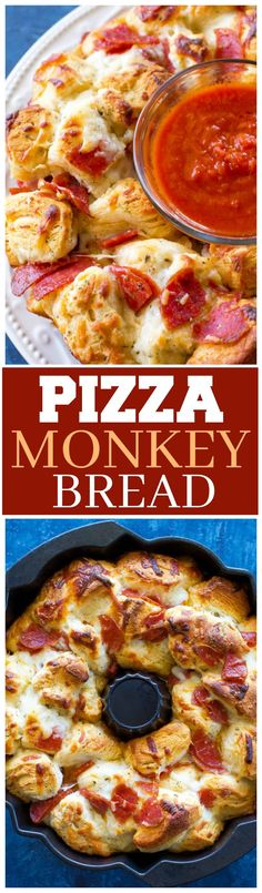 This Pizza Monkey Bread is stuffed with pepperoni, mozzarella cheese, and garlic all in a Bundt pan. If you love pizza, you'll love this pizza bread made with biscuits and marinara sauce for dipping.