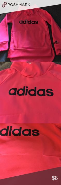 Adidas girls pink pull over Adidas pink size 3T pull over like new long sleeve there is a thread missing from top of the front sling pocket I just checked it has not effect on the top. Picture included last one this top looks great with black leggings. Adidas Shirts & Tops Sweatshirts & Hoodies
