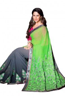 Green and gray Chiffon and georgette Saree With Art silk Blouse - DMV8587