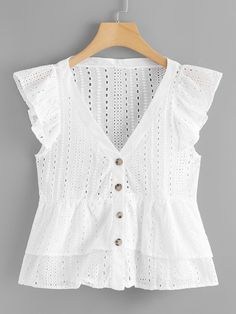 Dotfashion White Single Breasted Ruffle Sleeve Blouse Women 2019 Summer Casual V Neck Cap Sleeve Clothes Peplum Ladies Tops. Blouse Styles, Blouse Designs, Latest Fashion For Women, Womens Fashion, Trendy Fashion, Outfit Trends, Mode Style, Ruffle Sleeve, Fitness Fashion