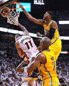 Sorry Birdman- you have been posterized by Paul George (Matt Krygers photo)