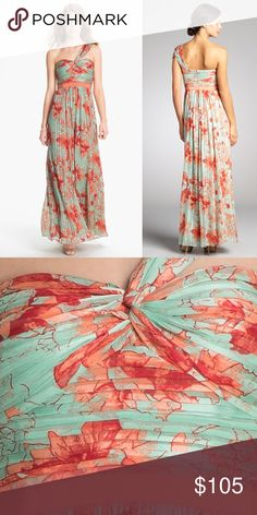 BCBG Silk One Shoulder Gown Prom Size 2 Perfect for Prom or Wedding guest in the spring or summer Lightweight Silk Woven. Shell: 100% Silk Flexible boning and contoured cups at bust Fully lined Orig: $448 BCBG Dresses Maxi