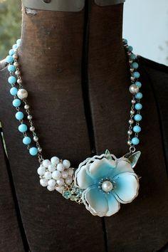 Blue Flower Statement Necklace Collage Vintage by belmonili, $48.00