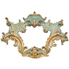 19th Century Italian Rococo Style Carved and Painted, Parcel Gilt Wood Cartouche | From a unique collection of antique and modern sculptures at http://www.1stdibs.com/furniture/more-furniture-collectibles/sculptures/