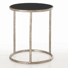 ARTERIORS Home Keifer Side Table in Distressed Antiqued Silver and Black