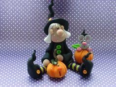 Quirky Smiling Witch Set  Polymer Clay Figurine by ClayBabiesInc, $27.95