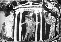 Antigones Tod. Antigone wird abgeführt, in der Mitte Herakles, rechts Kreon.  Vor Kreon verteidigte Antigone ihre Tat und warnte ihn vor den Folgen seines Tuns, da er die Götter der Unterwelt missachte, wenn er Polyneikes nicht bestatten lasse. Kreon liess sich jedoch nicht beirren und befahl, Antigone in ein Grab zu sperren, wo sie verhungern sollte. Auch sein Sohn Haimon, der mit Antigone verlobt war, konnte ihn nicht von diesem Entschluss abbringen.