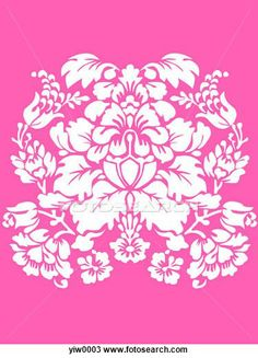 Drawing of A pink and white damask print
