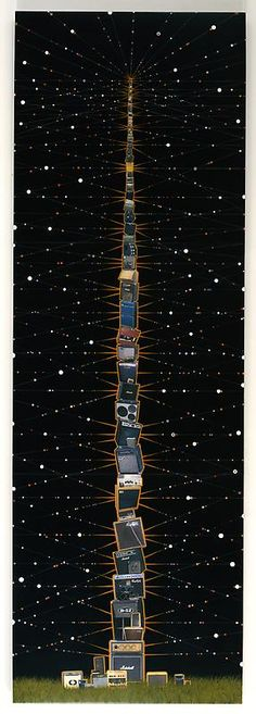FRED TOMASELLI  Big Stack, 2009  Photocollage, acrylic, resin on wood panel  120 X 40 inches