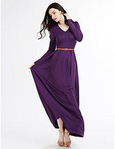 503be014eedb8   33.59  Women s Plus Size Beach Maxi Swing Dress - Solid Colored V Neck  Spring Green Wine Royal Blue XL XXL XXXL