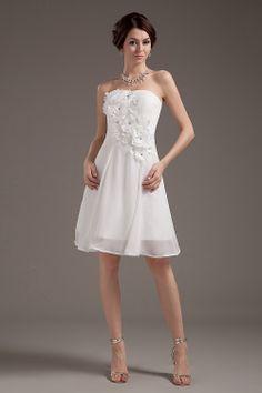 $109 Beautiful A-Line White Chiffon Knee-Length Strapless Wedding Dress -