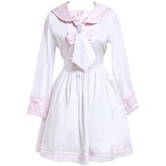 Partiss Women's Pink And White Sailor Bow Cotton School Lolita Dress ($60) ❤ liked on Polyvore featuring dresses, bow dress, pink and white dress, cotton dress, cotton day dresses and sailor dress