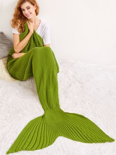 Army Green Solid Color Knit Textured Mermaid Blanket -SheIn(Sheinside)