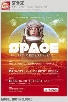 This Space Event Flyer Template is sold exclusively on graphicriver, it can be used for your Birthday Parties, Music/Club Events or for any other marketing projects. The files are easy to modify, change colors, dimensions and all text are editable.