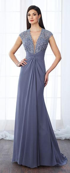 Lace and chiffon slim A-line gown with illusion scalloped lace cap sleeves, plunging V-neckline with illusion modesty panel, hand-beaded lace sweetheart bodice, center gathered natural waist with knot, illusion lace back, sweep train. Matching shawl included.
