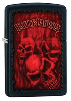 Menacing, ghostly red skulls are at the center of this color imaged Harley-Davidson® Black Matte windproof lighter. For optimal performance, fill with Zippo premium lighter fluid. Comes packaged in an environmentally friendly gift box. Cool Lighters, Zippo Harley Davidson, Harley Davidson Motorcycles, Environmentally Friendly Gifts, Epic Fail Pictures, Best Classic Cars, Matte Red, New Tricks