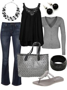 Grey cardigan, black tanktop, blue denim pants,  metallic grey flat sandals, metallic grey tote bag, black stud earrings, black cuff bracelet, black and white beaded necklace.
