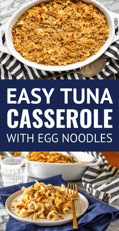 Easy Tuna Casserole Easy Tuna Casserole With Egg Noodles -- this classic tuna casserole recipe was always one of my mom's go-to recipes when I was growing up. And I can totally see why. Tuna noodle casserole is quick to prep tasty and versatile! Egg Noodle Recipes, Tuna Casserole Recipes, Tuna Recipes, Casserole Dishes, Seafood Recipes, Cooking Recipes, Cheap Recipes, Recipies, Quick Recipes