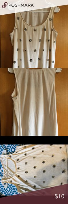 Tank top Cute tank with little beads cream colored. Size 14/16. Lane Bryant Tops Tank Tops