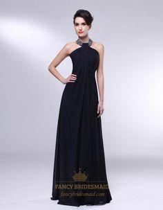 High Neck Chiffon Prom Dress, Black Chiffon ...