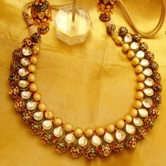 Kundan gold colored necklace