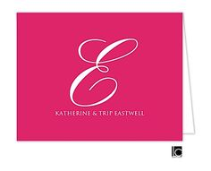 Large Script Initial Pink Folded Note