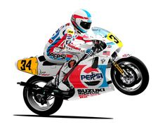 Kevin Schwantz 1993 world champ on the RGV500 two-stroke Suzuki, drawn in vectors.