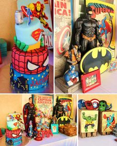 Vintage Superhero themed birthday party via Kara's Party Ideas Batman Birthday, Batman Party, Superhero Birthday Party, 4th Birthday Parties, Boy Birthday, Birthday Ideas, Spider Man Party, Party Ideas, Party Props