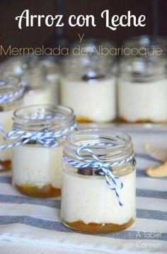 Arroz con leche y mermelada de albaricoque