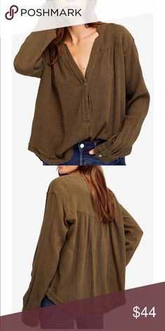 Free People oversized cotton blouse New Free People Tops Blouses