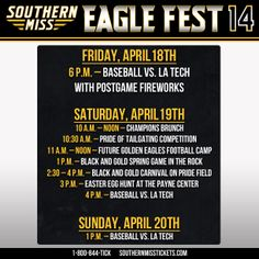 Southern Miss Fans don`t miss out on the biggest event of the year this Saturday all day! For more information on Eagle Fest go to www.southernmiss.com!