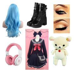 Untitled #71 by mad-hatter-gone-insane on Polyvore featuring yeswalker #BlueWig #Fashion #CuteOutfit
