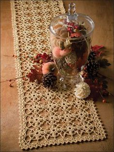 Trellis of Love - an exquisite lacy table runner - free crochet pattern and would you believe it says : LEVEL: EASY?? It does!